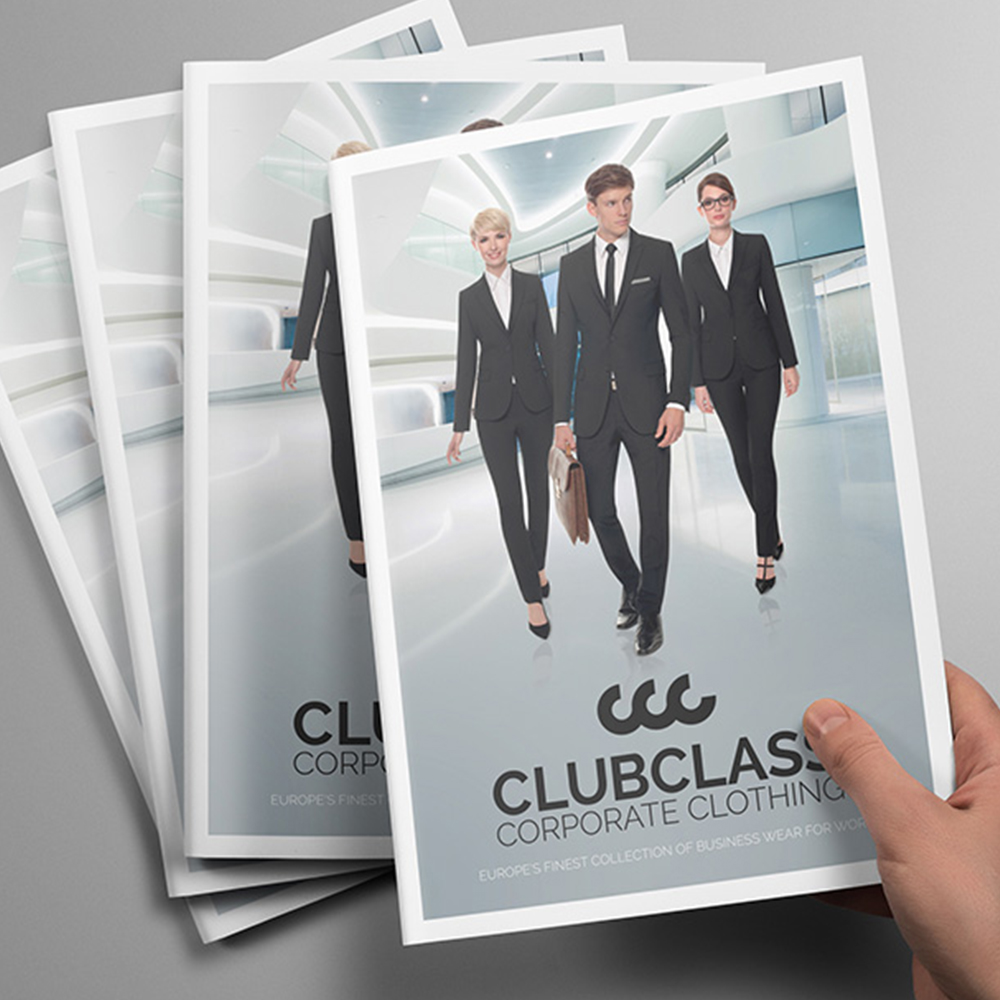 Clubclass Corporate Clothing. Output included Branding, Brochure, Web Design, Exhibition and Stationary.